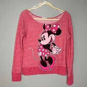 Cute Minnie Mouse Off the Shoulder Sweatshirt